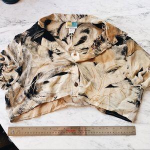 Vintage oversized cropped patterned blouse L